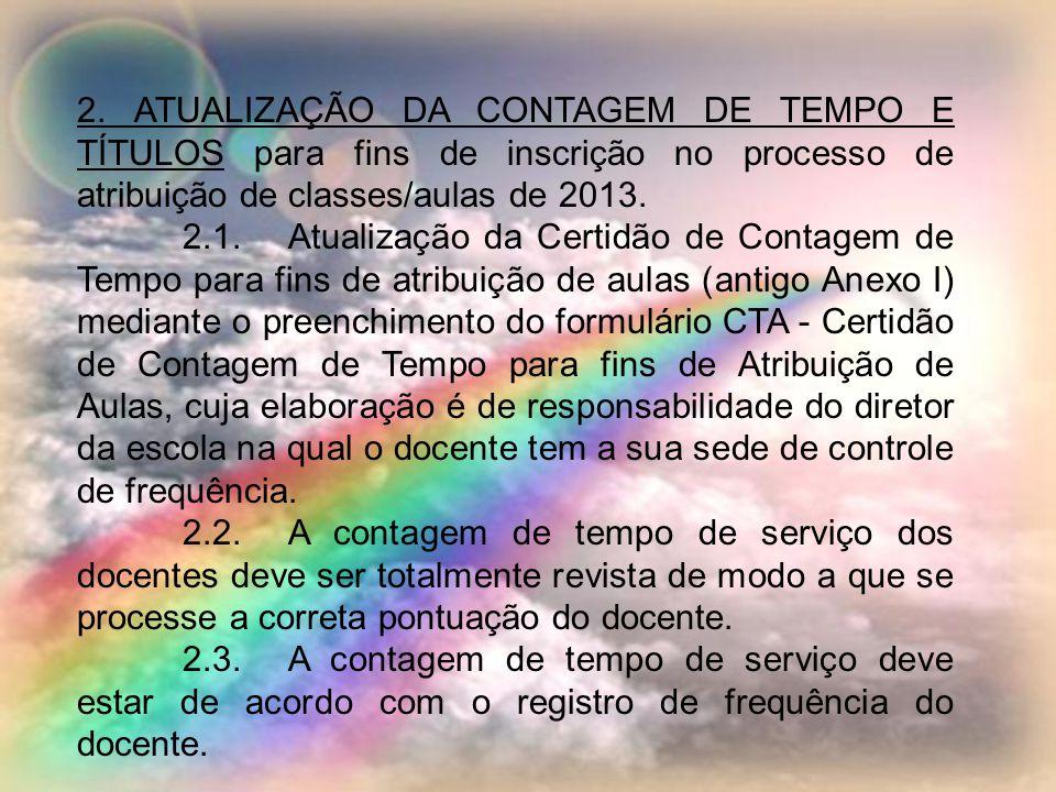 2. ATUALIZAÇÃO DA CONTAGEM DE TEMPO E TÍTULOS para fins de inscrição no processo de atribuição de classes/aulas de 2013.