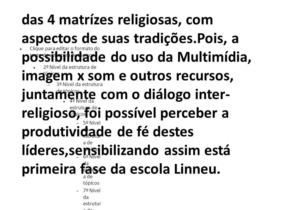 das 4 matrízes religiosas, com aspectos de suas tradições