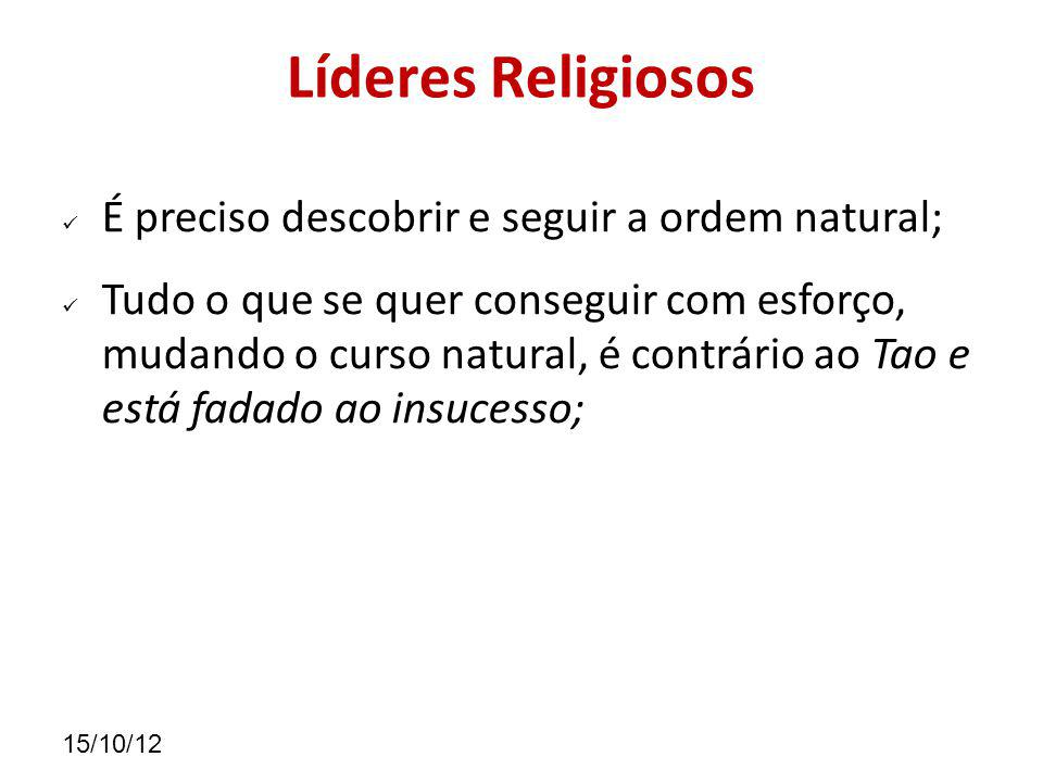 Líderes Religiosos É preciso descobrir e seguir a ordem natural;