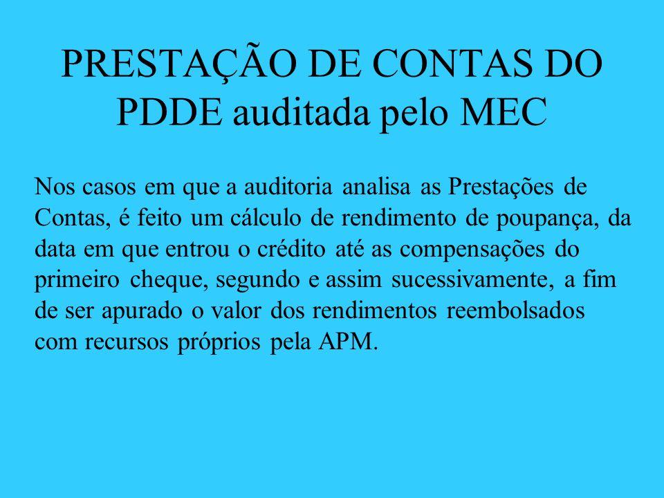 PRESTAÇÃO DE CONTAS DO PDDE auditada pelo MEC