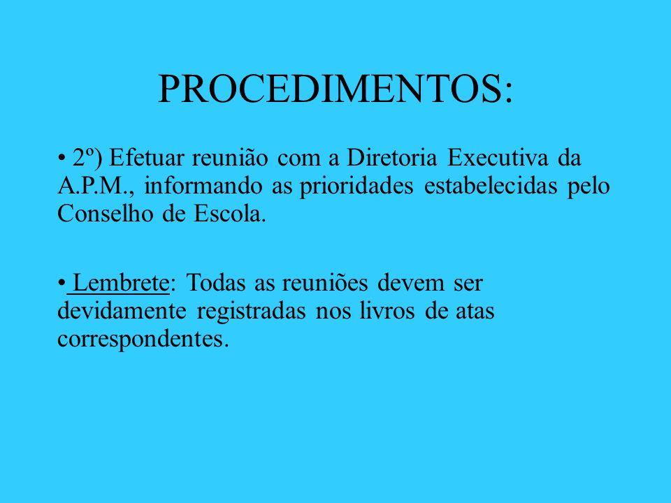 PROCEDIMENTOS: 2º) Efetuar reunião com a Diretoria Executiva da A.P.M., informando as prioridades estabelecidas pelo Conselho de Escola.
