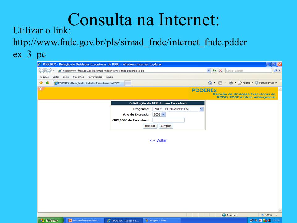 Consulta na Internet: Utilizar o link: http://www.fnde.gov.br/pls/simad_fnde/internet_fnde.pdderex_3_pc.