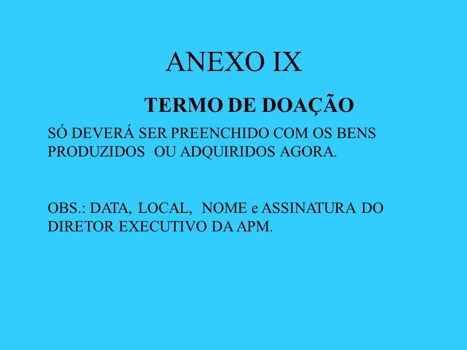 ANEXO IX TERMO DE DOAÇÃO
