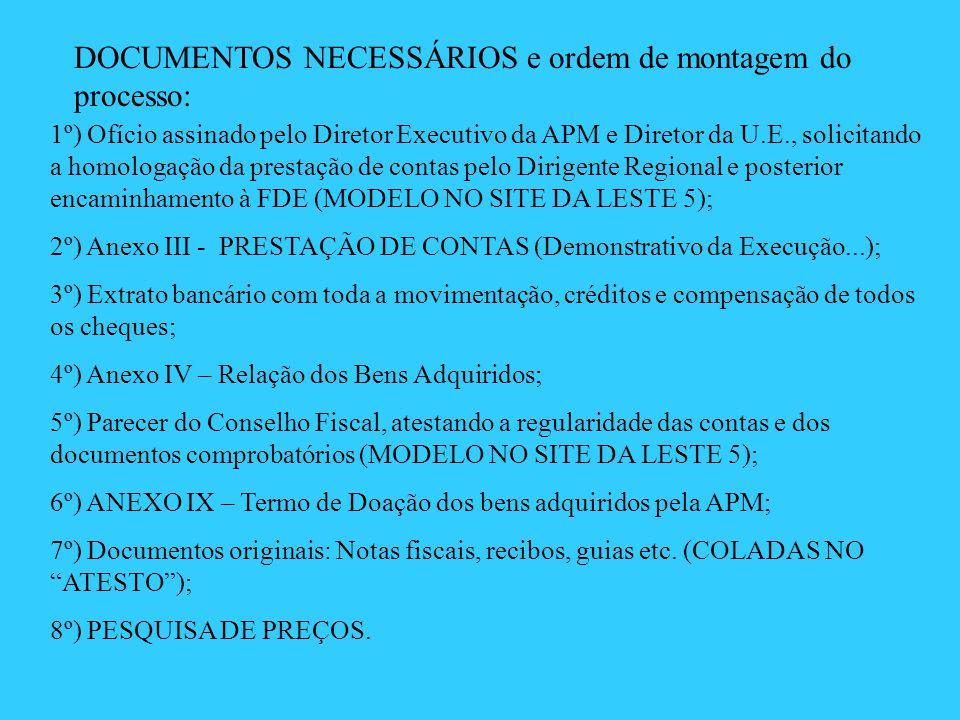 DOCUMENTOS NECESSÁRIOS e ordem de montagem do processo: