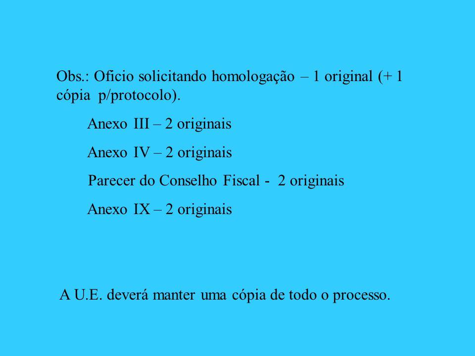 Obs.: Oficio solicitando homologação – 1 original (+ 1 cópia p/protocolo).