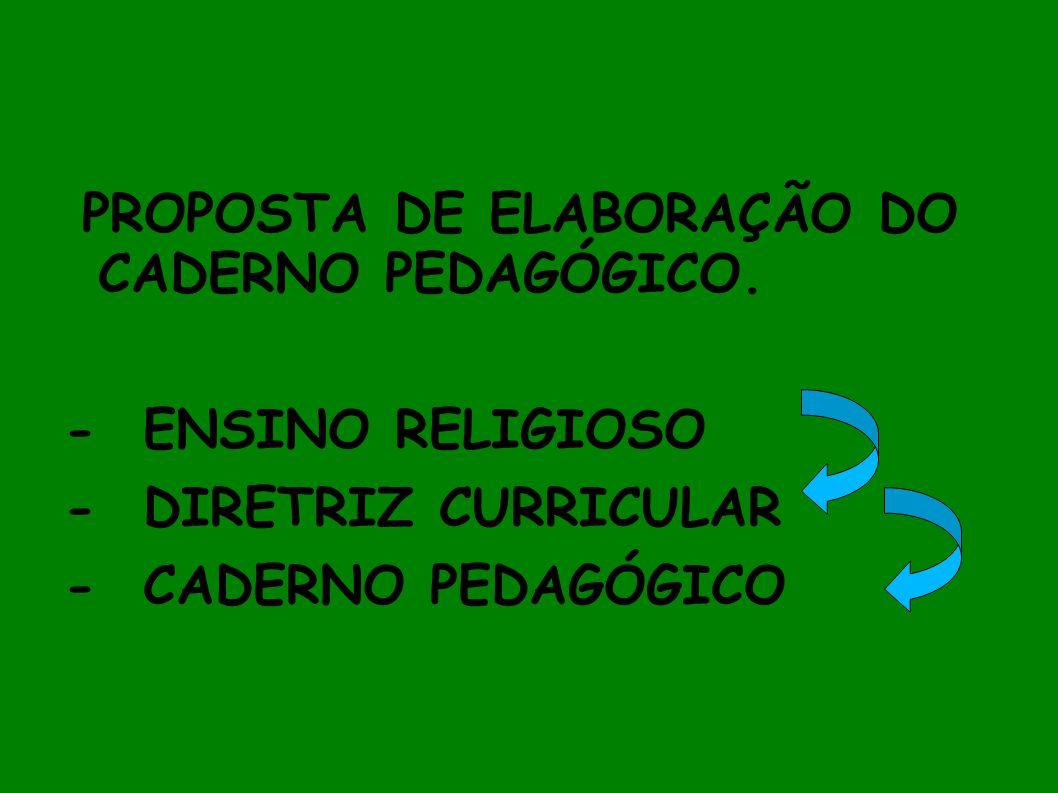 PROPOSTA DE ELABORAÇÃO DO CADERNO PEDAGÓGICO.