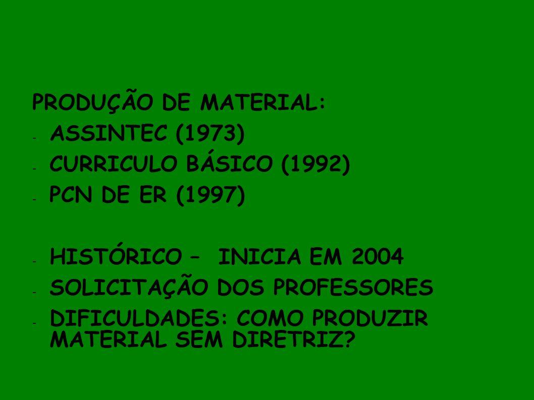 PRODUÇÃO DE MATERIAL: ASSINTEC (1973) CURRICULO BÁSICO (1992) PCN DE ER (1997) HISTÓRICO – INICIA EM 2004.