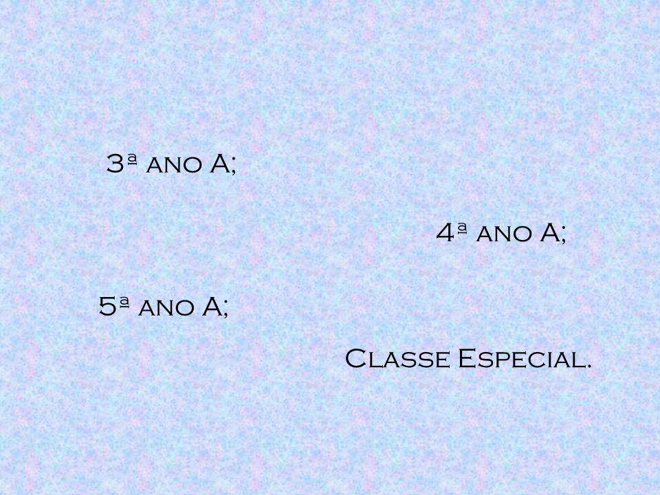 3ª ano A; 4ª ano A; 5ª ano A; Classe Especial.
