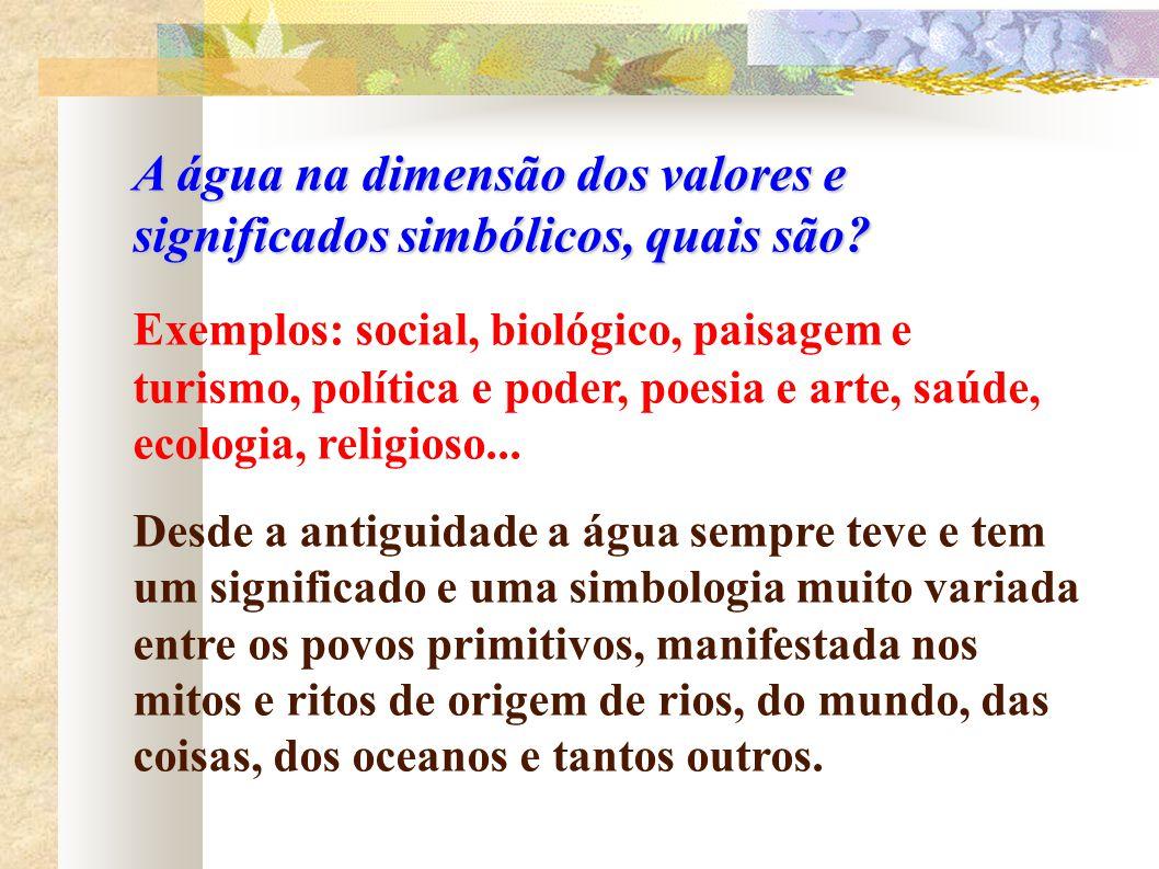 A água na dimensão dos valores e significados simbólicos, quais são