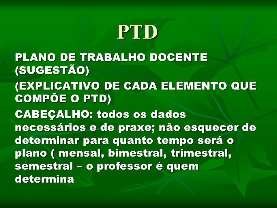 PTD PLANO DE TRABALHO DOCENTE (SUGESTÃO)