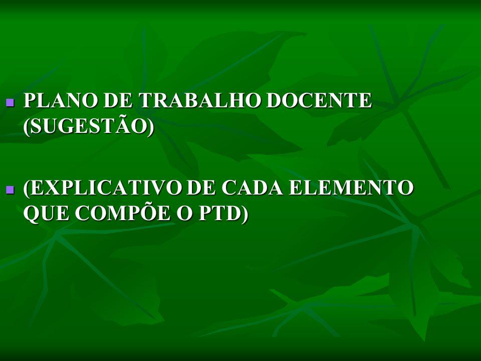 PLANO DE TRABALHO DOCENTE (SUGESTÃO)