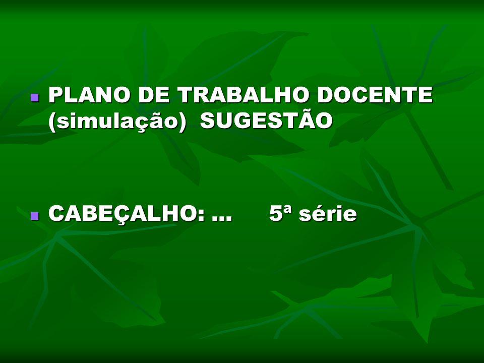 PLANO DE TRABALHO DOCENTE (simulação) SUGESTÃO