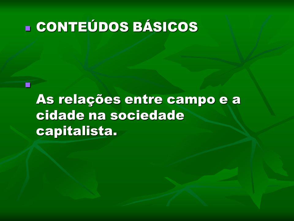 CONTEÚDOS BÁSICOS As relações entre campo e a cidade na sociedade capitalista.