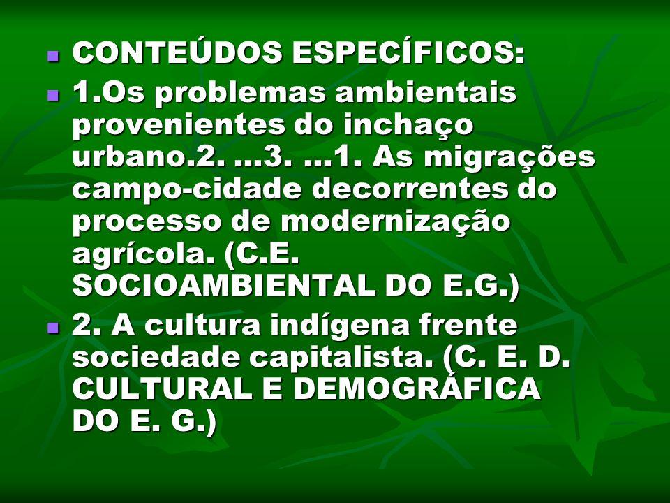 CONTEÚDOS ESPECÍFICOS: