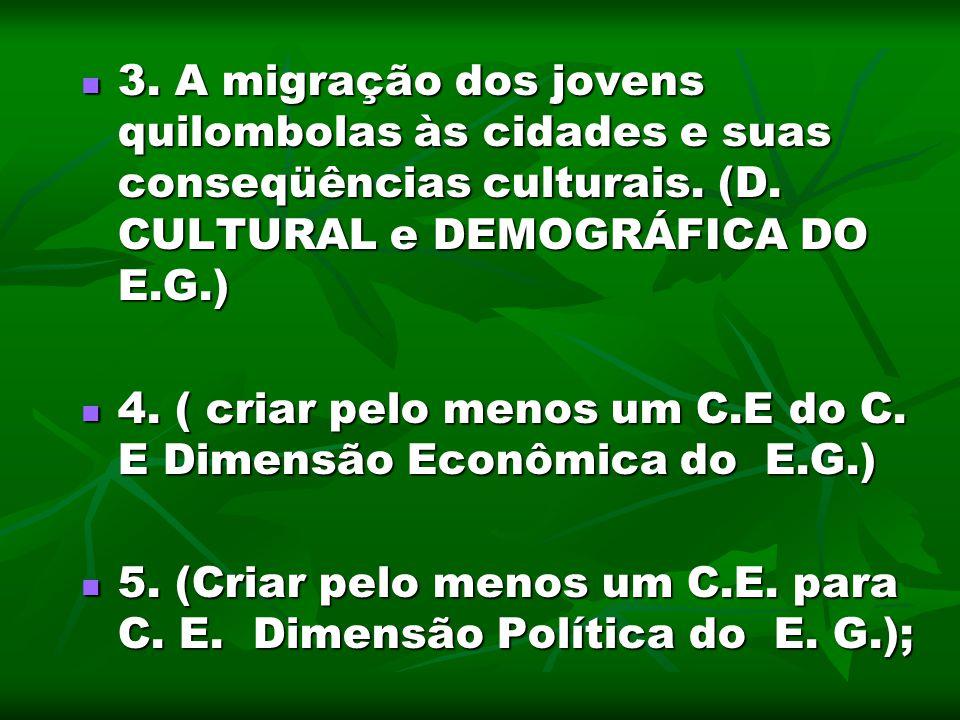 3. A migração dos jovens quilombolas às cidades e suas conseqüências culturais. (D. CULTURAL e DEMOGRÁFICA DO E.G.)