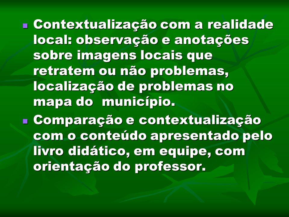 Contextualização com a realidade local: observação e anotações sobre imagens locais que retratem ou não problemas, localização de problemas no mapa do município.
