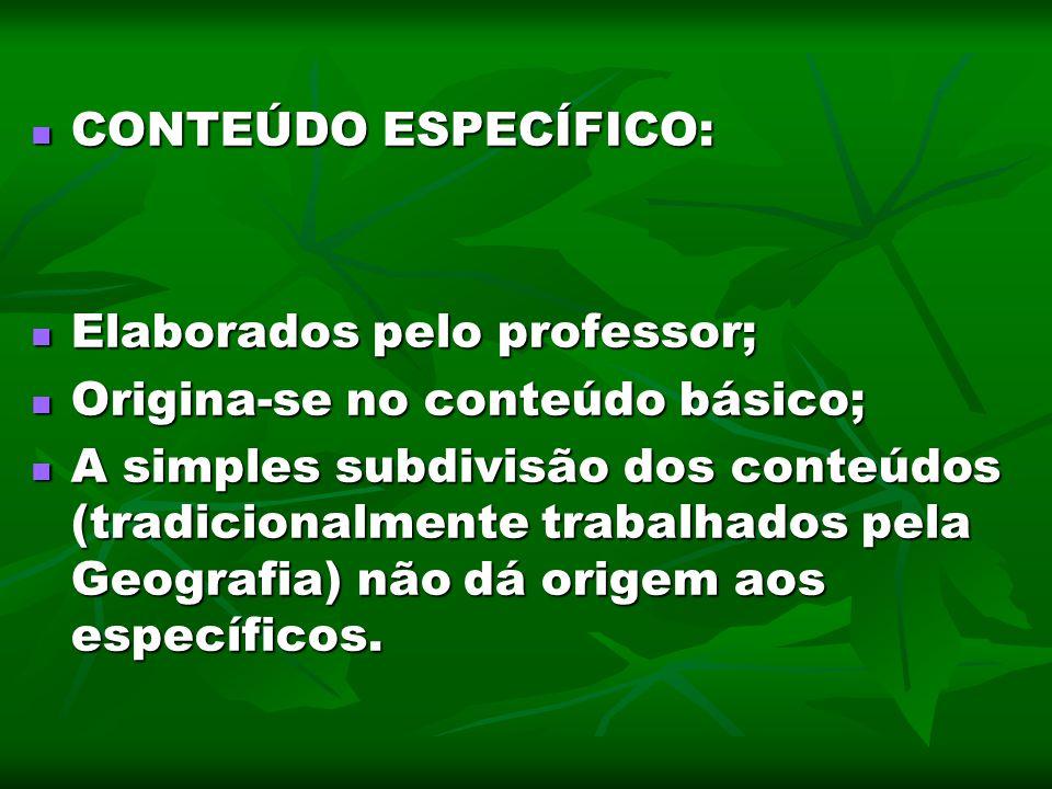 CONTEÚDO ESPECÍFICO: Elaborados pelo professor; Origina-se no conteúdo básico;