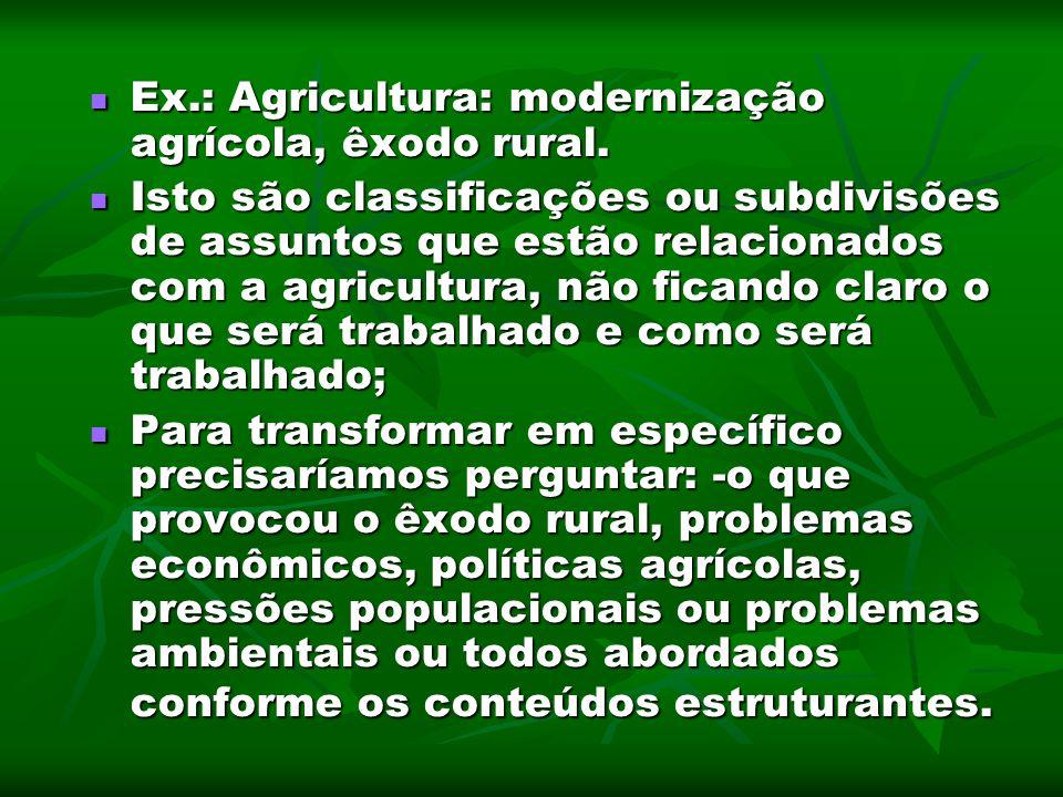 Ex.: Agricultura: modernização agrícola, êxodo rural.