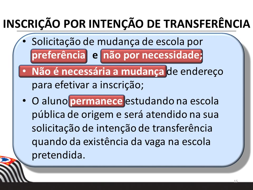 INSCRIÇÃO POR INTENÇÃO DE TRANSFERÊNCIA