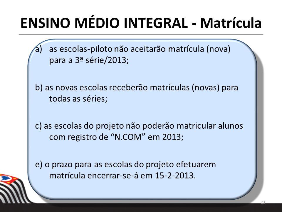 ENSINO MÉDIO INTEGRAL - Matrícula