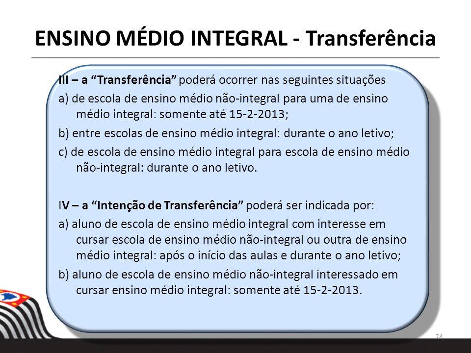 ENSINO MÉDIO INTEGRAL - Transferência