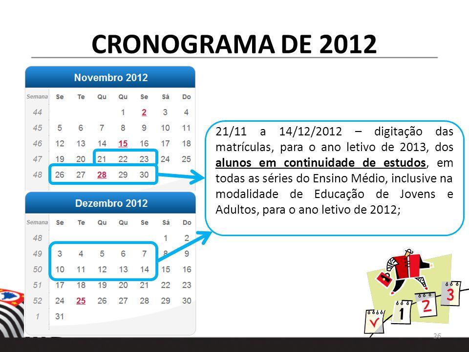 CRONOGRAMA DE 2012