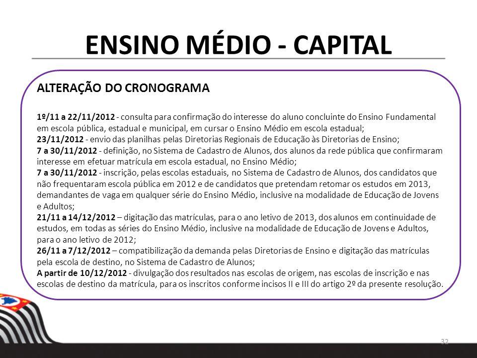 ENSINO MÉDIO - CAPITAL ALTERAÇÃO DO CRONOGRAMA