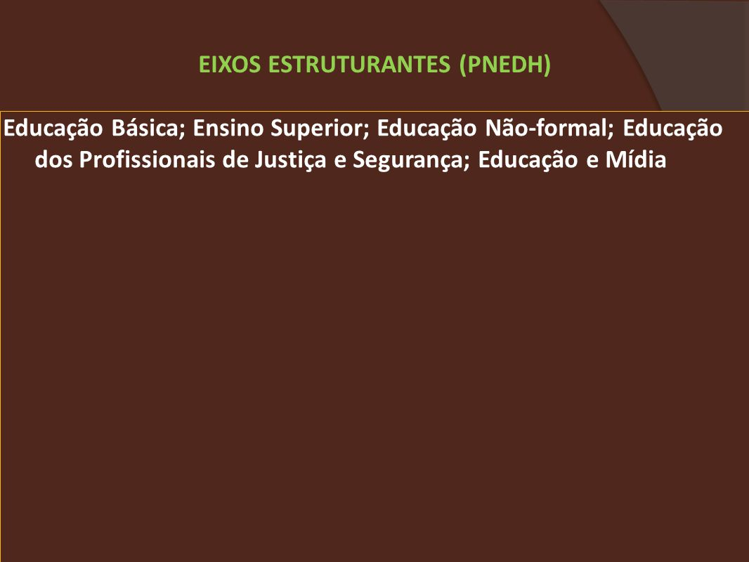 EIXOS ESTRUTURANTES (PNEDH)