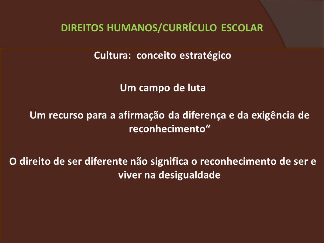 DIREITOS HUMANOS/CURRÍCULO ESCOLAR