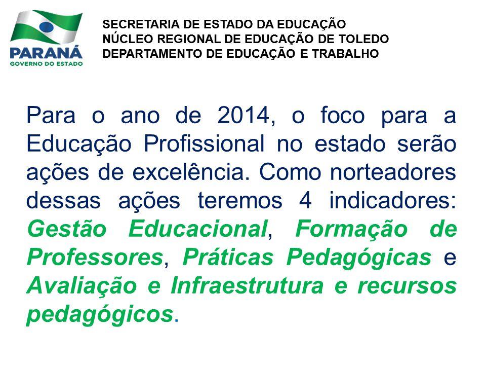 Para o ano de 2014, o foco para a Educação Profissional no estado serão ações de excelência.