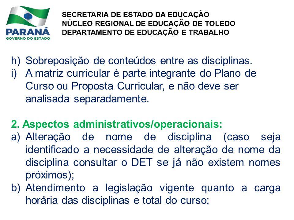 h) Sobreposição de conteúdos entre as disciplinas.