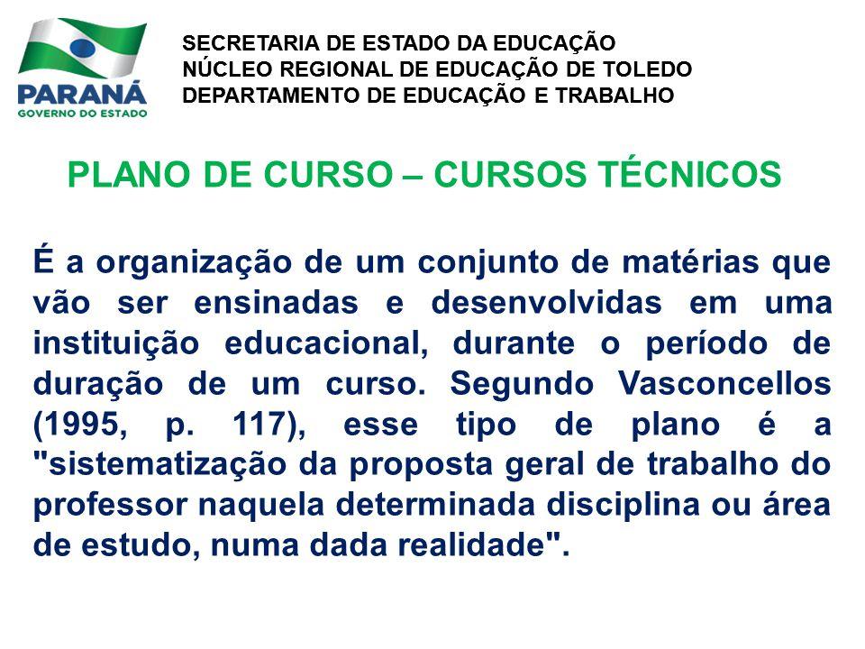 PLANO DE CURSO – CURSOS TÉCNICOS
