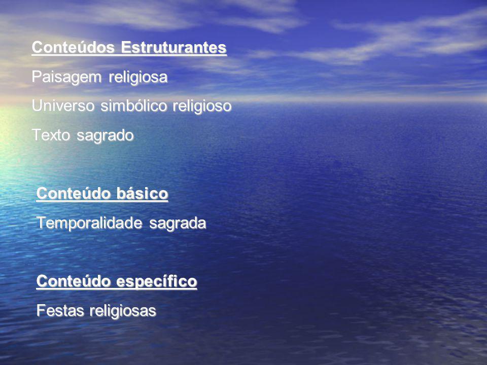 Conteúdos Estruturantes Paisagem religiosa Universo simbólico religioso Texto sagrado Conteúdo básico Temporalidade sagrada Conteúdo específico Festas religiosas