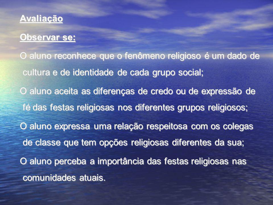 Avaliação Observar se: O aluno reconhece que o fenômeno religioso é um dado de cultura e de identidade de cada grupo social;