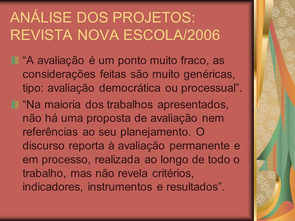 ANÁLISE DOS PROJETOS: REVISTA NOVA ESCOLA/2006