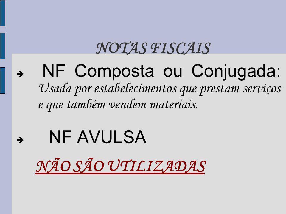 NOTAS FISCAIS NF Composta ou Conjugada: Usada por estabelecimentos que prestam serviços e que também vendem materiais.