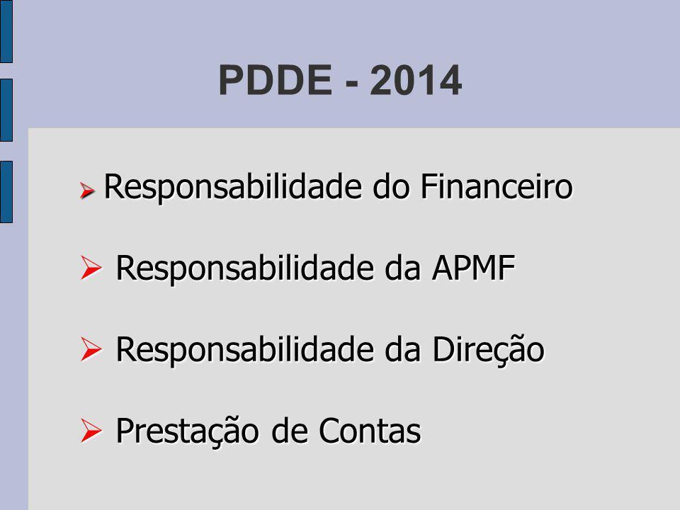 PDDE - 2014 Responsabilidade da APMF Responsabilidade da Direção
