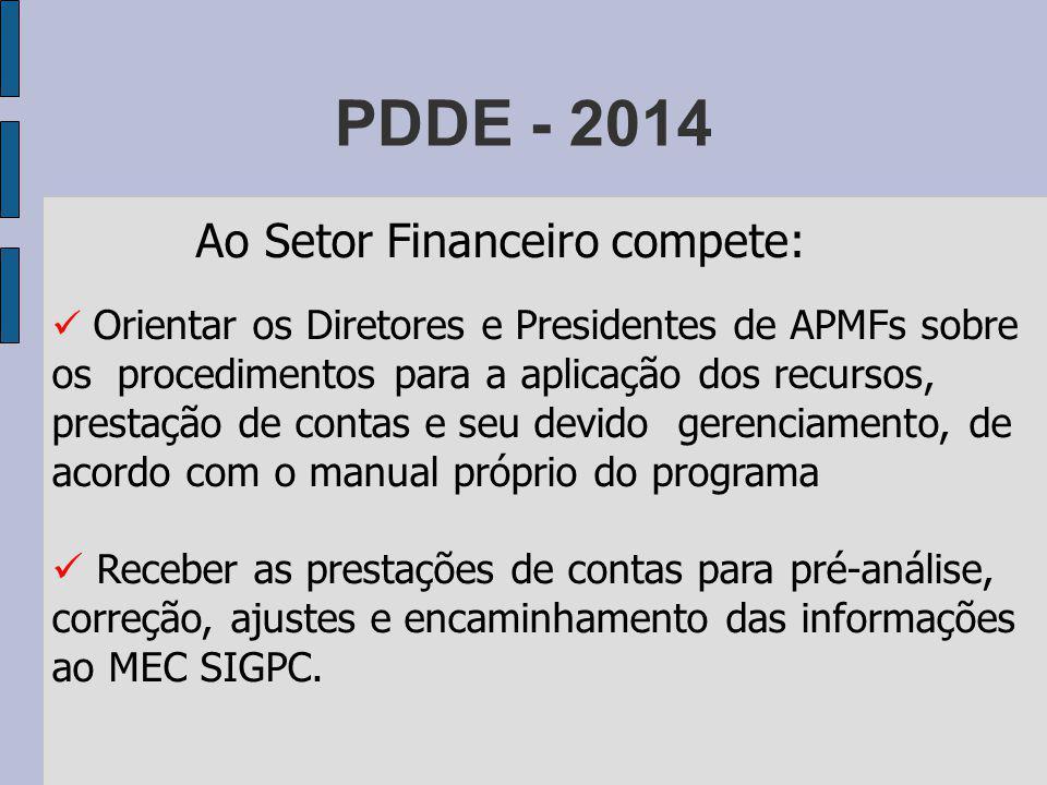 PDDE - 2014 Ao Setor Financeiro compete: