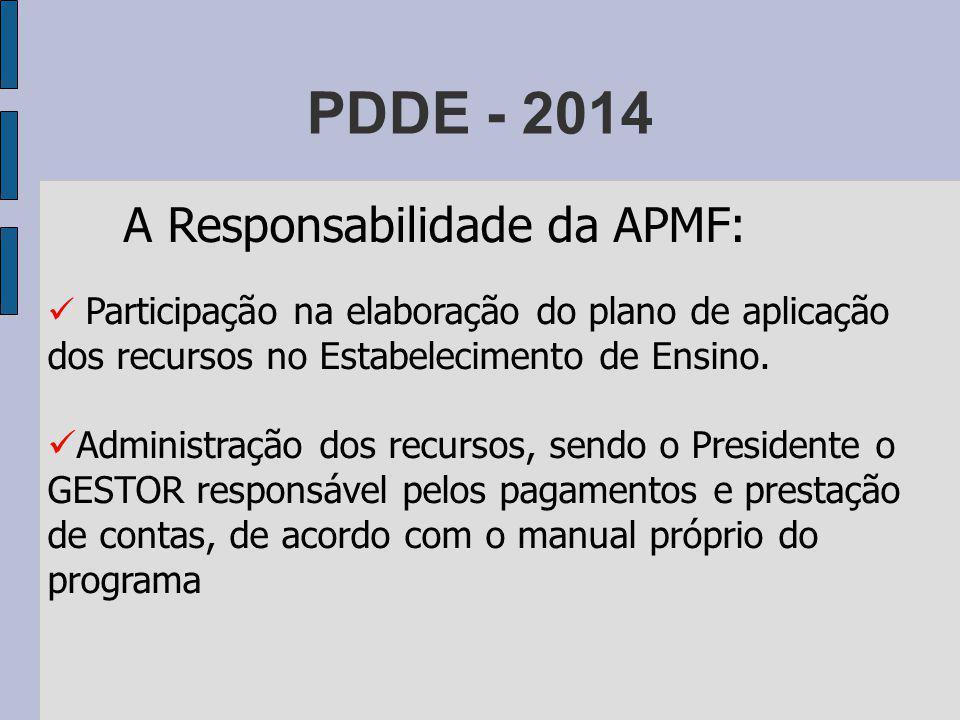 PDDE - 2014 A Responsabilidade da APMF: Participação na elaboração do plano de aplicação dos recursos no Estabelecimento de Ensino.