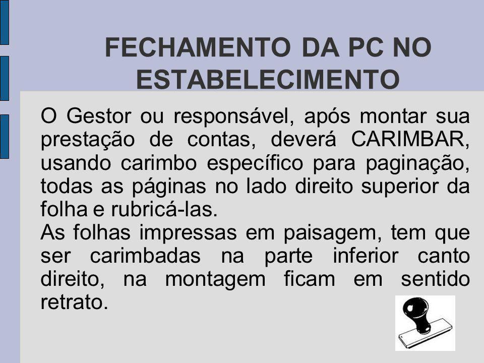 FECHAMENTO DA PC NO ESTABELECIMENTO
