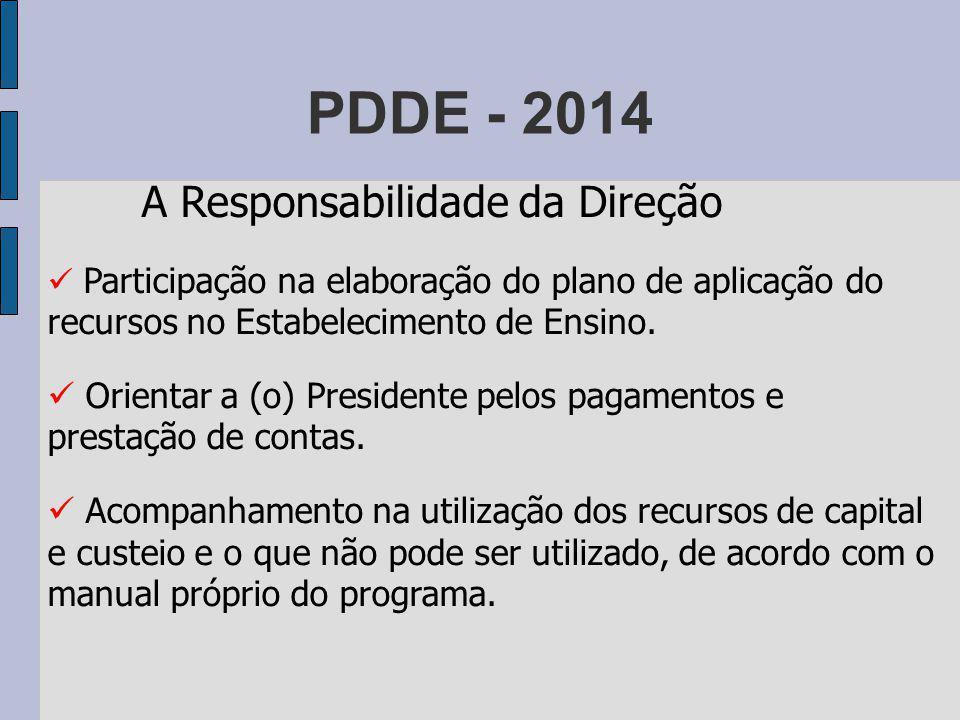 PDDE - 2014 A Responsabilidade da Direção. Participação na elaboração do plano de aplicação do recursos no Estabelecimento de Ensino.
