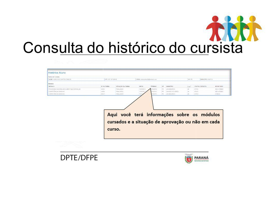 Consulta do histórico do cursista