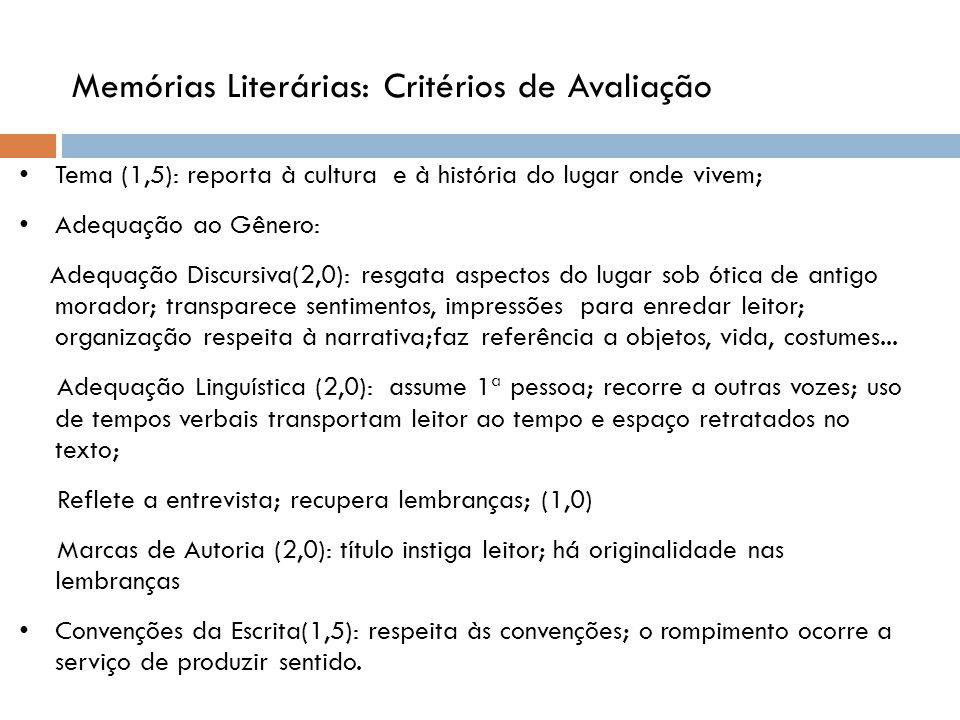 Memórias Literárias: Critérios de Avaliação