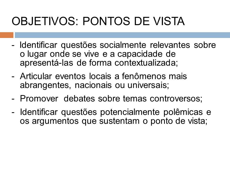 OBJETIVOS: PONTOS DE VISTA
