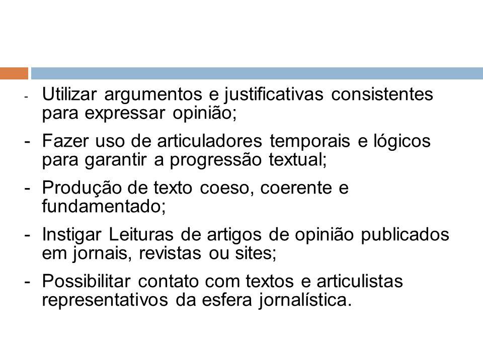 Produção de texto coeso, coerente e fundamentado;