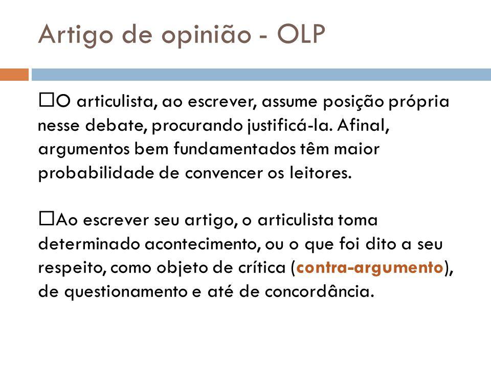 Artigo de opinião - OLP