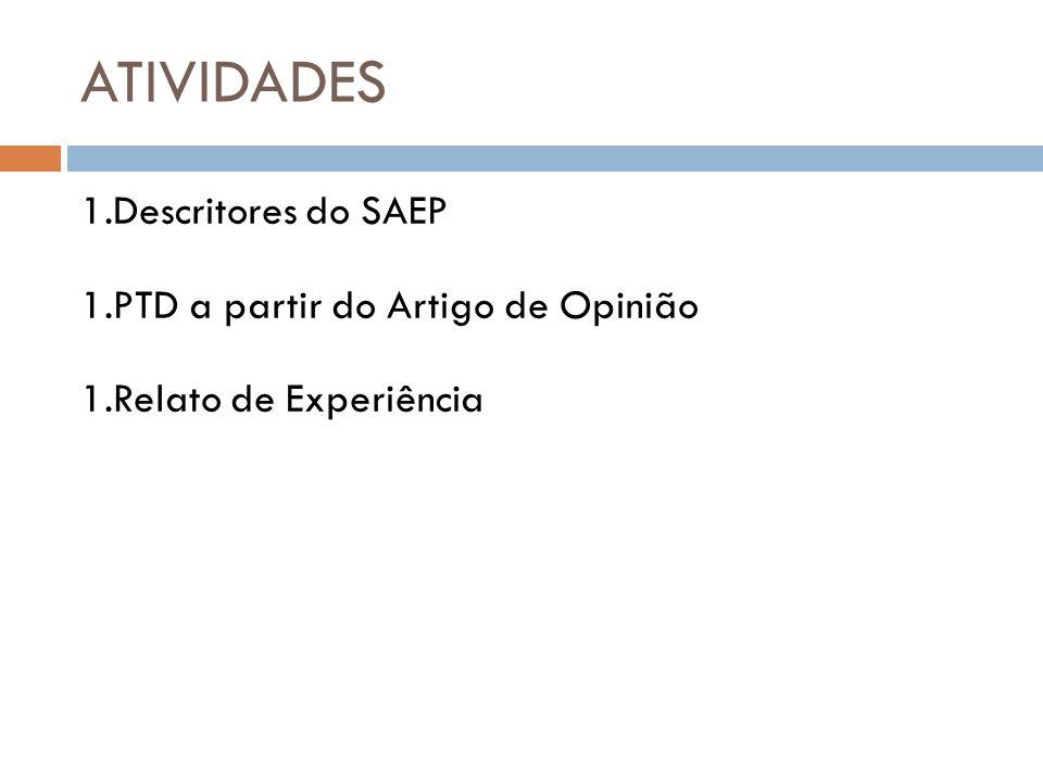 ATIVIDADES Descritores do SAEP PTD a partir do Artigo de Opinião