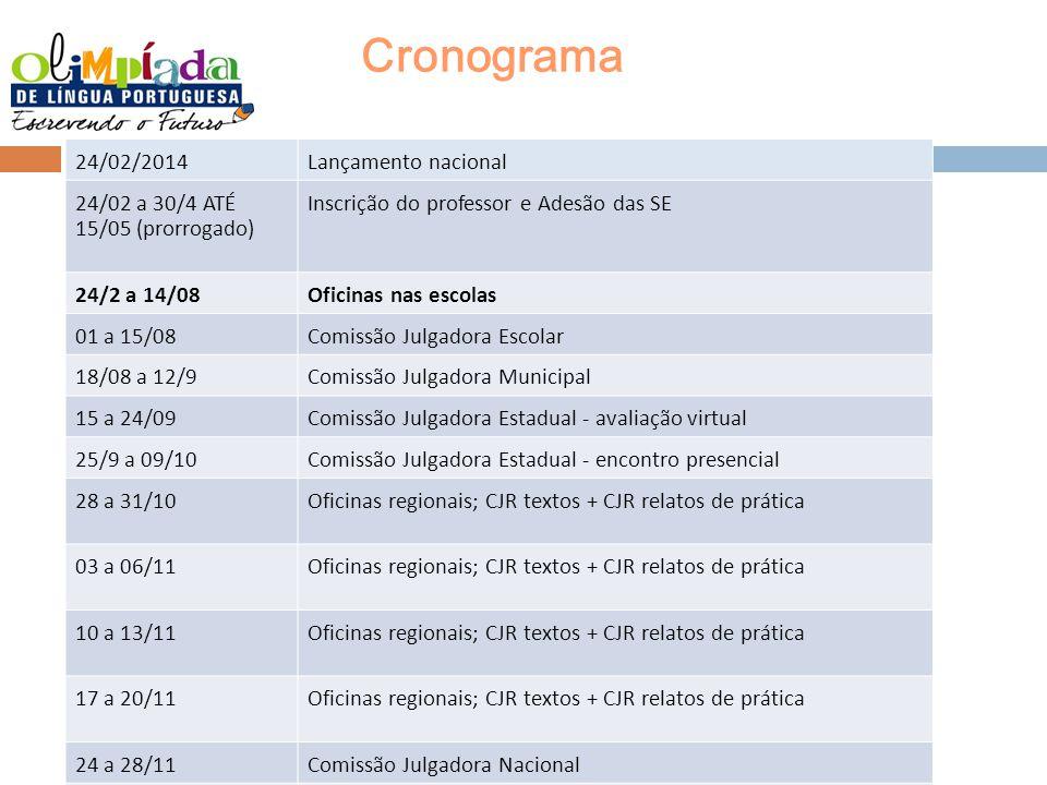 Cronograma 24/02/2014 Lançamento nacional