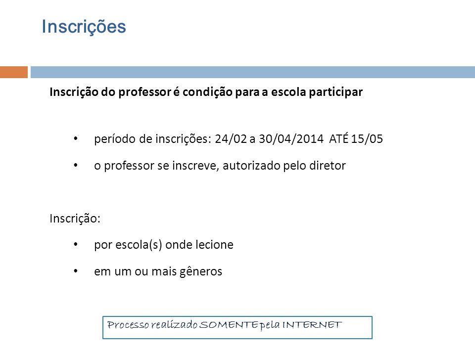 Inscrições Inscrição do professor é condição para a escola participar