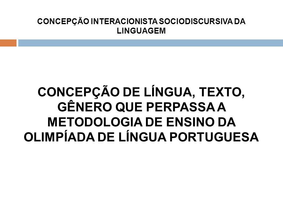 CONCEPÇÃO INTERACIONISTA SOCIODISCURSIVA DA LINGUAGEM